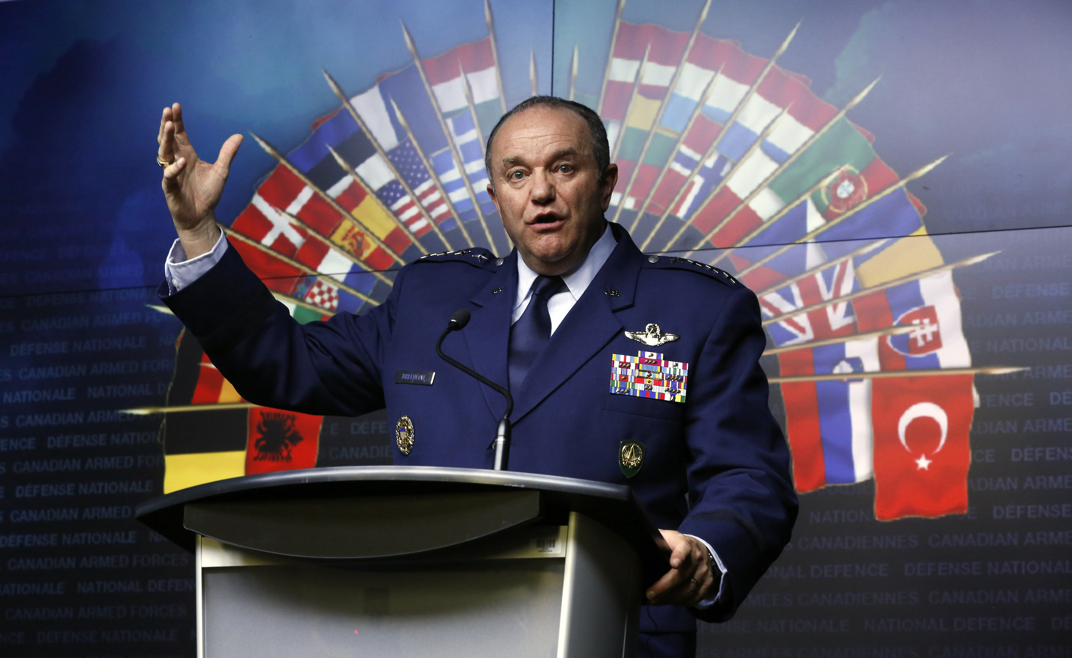 NATO Supreme Allied Commander Europe and Commander of the U.S. European Command General Philip Breedlove speaks during a news conference at the National Defence headquarters in Ottawa May 6, 2014. NATO will have to consider permanently stationing troops in eastern Europe as a result of the increased tension between Russia and Ukraine, the alliance's top military commander Breedlove said on Tuesday. REUTERS/Chris Wattie (CANADA - Tags: POLITICS MILITARY) - RTR3O270