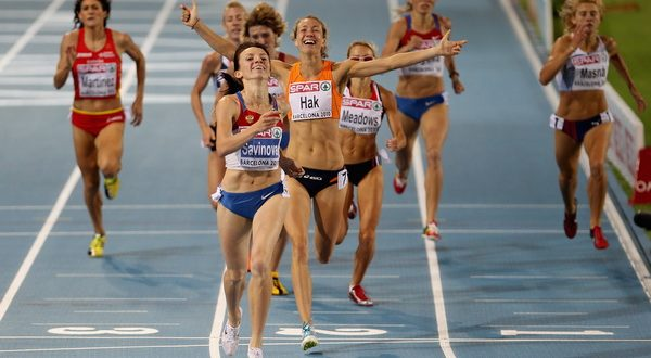 BARCELONA, SPAIN - JULY 30:  Mariya Savinova of Russia wins gold and Yvonne Hak of Netherlands wins the silver medal in the Womens 800m Final during day four of the 20th European Athletics Championships at the Olympic Stadium on July 30, 2010 in Barcelona, Spain.  (Photo by Michael Steele/Getty Images) *** Local Caption *** Yvonne Hak;Mariya Savinova